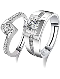 Moneekar Jewels 925 Silver Plated Metal Cubic Zirconia Adjustable Couple Rings for Men and Women