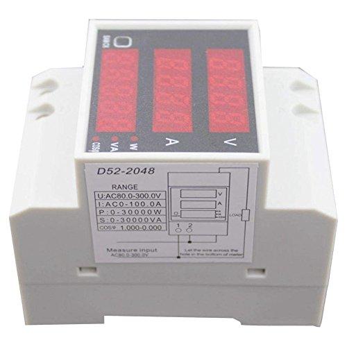 SODIAL Amperometro Misuratore di Potenza Voltmetro Corrente Digitale D52-2048 su guida DIN