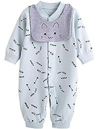 XIUBEIXING Fille Combinaison Barboteuse Bébé Grenouillère Pyjama+Bavoirs  Amovible Chou Mignon Cadeau Bébé bb1eaaf6d94