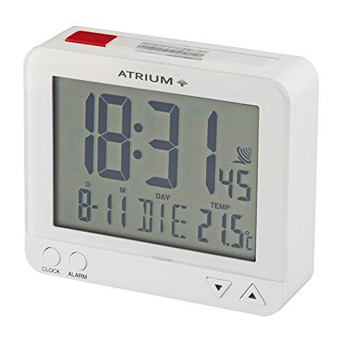 ATRIUM digitaler Funkwecker LCD sensorgesteuerte Nachtlichtfunktion Schlummerfunktion Obenabsteller weiß / rot A760-0
