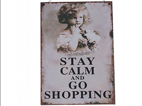 Wandschild Türschild Schild Drahtaufhängung 'Stay calm and go shopping' Engel