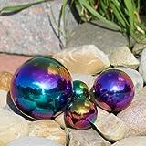 CIM Dekokugel aus Edelstahl - Dekokugel Rainbow Ø 8 cm - Leichte Hohlkugel, Gartenkugel, Schwimmkugel - Hochglanzpolierte Oberfläche mit dauerhaft spiegelndem Glanz