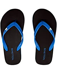 United Colors Of Benetton Black Blue Flip Flops For Men
