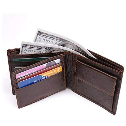 Botschaft Schwarz Echtes Leder (EQKWJ Herren Geldbörse aus Leder, RFID-blockierend, mit Geschenkbox - braun - Einheitsgröße)