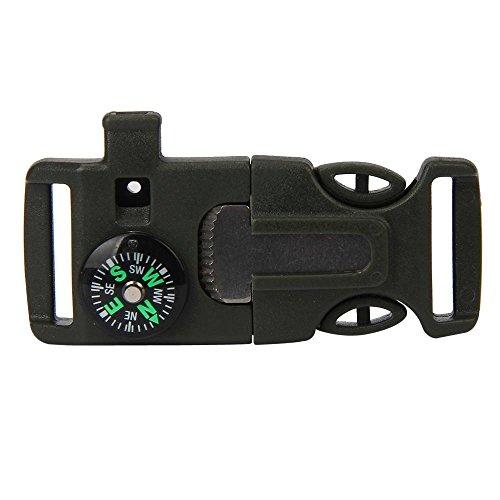 Zolimx Seite Schnalle mit Pfeife Kompass Feuerstein Feuer Starter Scaper (Armygrün)