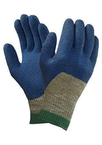 Ansell PGK10BL Tropique Gants en latex de caoutchouc naturel, protection mécanique, Bleu, Taille 10 (Sachet de 12 paires)