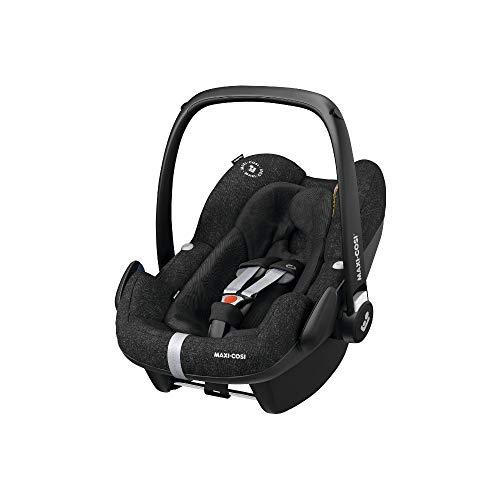 Maxi-Cosi Pebble Plus Babyschale, sicherer Gruppe 0+ i-Size Kindersitz (0-13 kg), nutzbar ab der Geburt bis ca. 12 Monate, passend für FamilyFix One Basisstation, nomad black