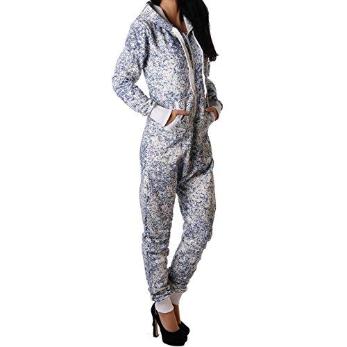 Crazy Age Jumpsuit Ganzkörperanzug Strampler Schneeflocken Batik für Damen (XL, Navy (2640)) - 2
