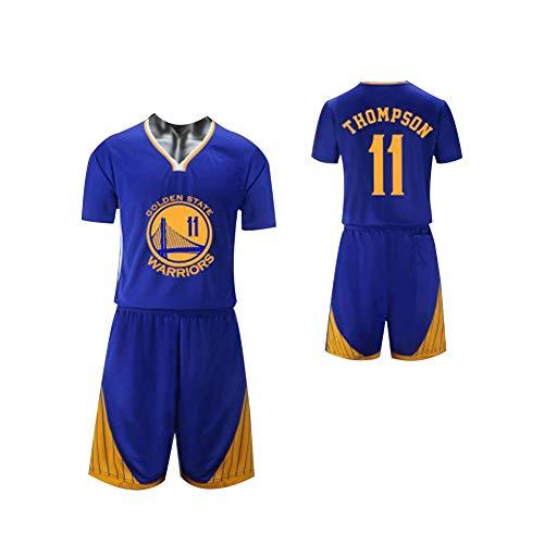 Baumwolle Reversible Tank-top (GY Klay Thompson Little Boys # 11 Herren Basketball Trikot 2-teilig Basketball Performance Tank Top und Shorts Set (XS-XXXL)-Blue-XXXL)