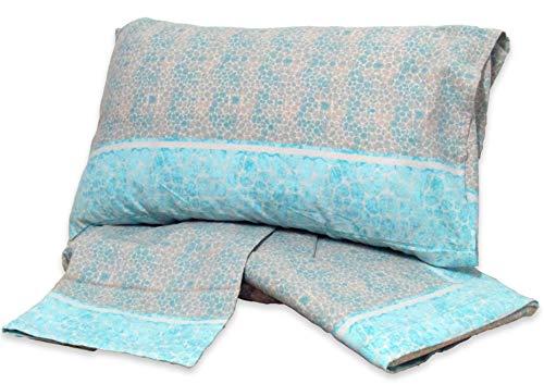 Casanov'è set comleto letto lenzuola matrimoniale flanella 100% cotone art snow misura 2 posti in 10 varianti (stone azzurro)