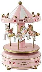 Idea Regalo - HorBous, carillon a carica, giostra di legno, con musica, idea regalo, decorazione in 6colori Pink