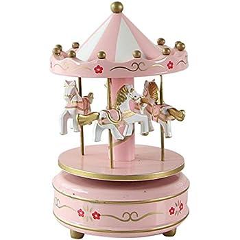 Multicolore DOT-Red Scatola Musicale Music Box Vintage Exquisite Crafts San Valentino Compleanno Regali di Natale Decorazioni per la casa MINGZE giostra di Legno Carillon