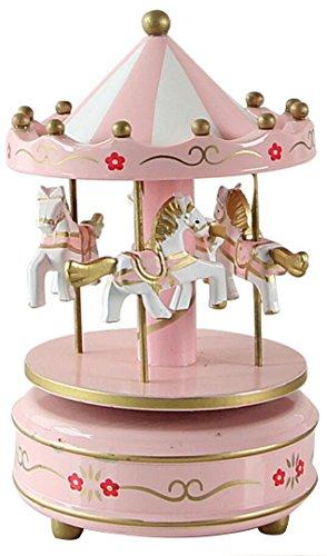 Horbous, carillon a carica, giostra di legno, con musica, idea regalo, decorazione in 6colori pink