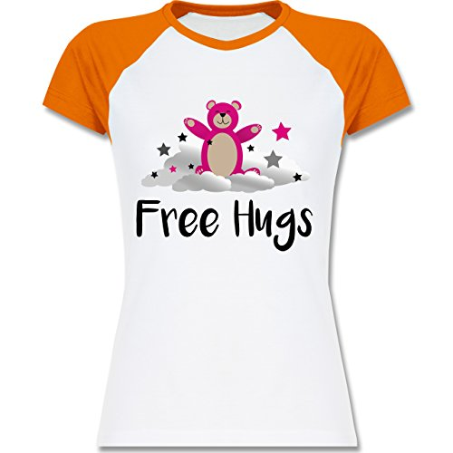 Shirtracer Comic Shirts - Free Hugs - Zweifarbiges Baseballshirt/Raglan T-Shirt für Damen Weiß/Orange