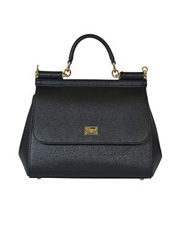 Gabbana Leder Handtasche Schwarz (DOLCE E GABBANA Damen Bb6002a100180999 Schwarz Leder Handtaschen)
