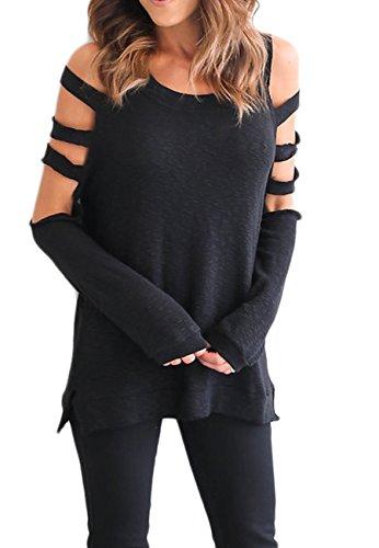 OMZIN Frauen Casual Baggy Off-Schulter Shirts Langarm Pullover Tops Schwarz / (Kostüm Dornröschen 2017)