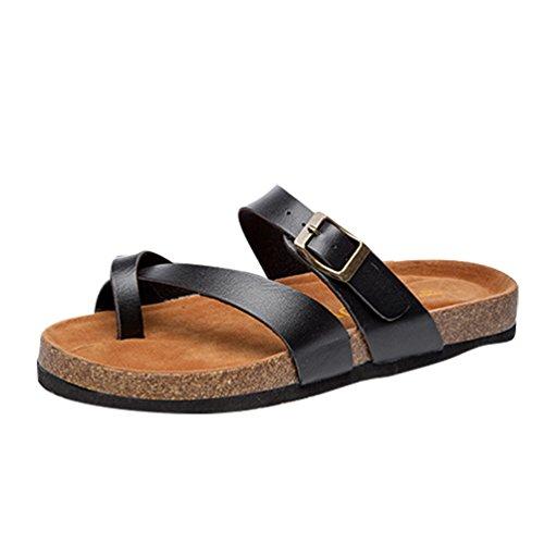 ZKOO Donne Ragazze Infradito Plantare di Sughero Sandali Pantofole con Cinturino Peep Toe Pantofole Spiaggia Scarpe Bassi Sandali Nero
