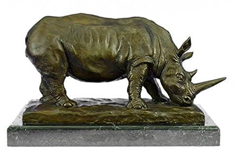 Bronze Skulpturen Statuen...GRATIS LIEFERUNG...Antike Endangered Rhinoceros Signed Barye Tier(XN-0992-EU) Bronze Skulpturen Statuen Figur Figuren Nude Büro & Zuhause Décor Collectibles Prime Tag auf Verkauf Deal Geschenke - Antico Firmato