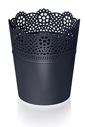 Rond cache-pot 18 cm LACE en plastique romantique style en anthracite