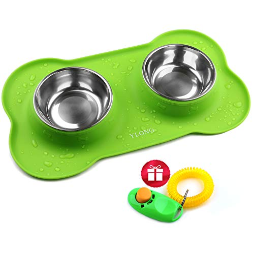 YLONG Pet Bowls- Edelstahl Hundenapf, Professionelle Hundesilikonschüssel, ohne Spill-Rutschfeste, Futterschüsseln, 16 Unzen 450 ml pro Schale, für Hunde, Katzen oder andere kleine Tiere -