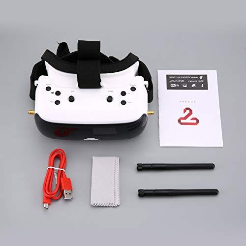 JohnJohnsen TOPSKY Prime 1s FPV Goggle 5,8G 86-Grad-FOV 640 x 480 LCD 4: 3 2,4 Zoll NTSC / PAL-Brille Batterie schwach Warnung DVR-Brille (Weiß)