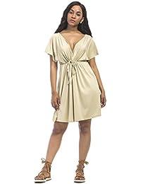 6ba7f0be5b Summer Womens Casual Sleeveless Beach Dress Ladies Sexy V Neck Halter  Backless Mini Kimono Dresses Beach Bikini Cover Up Caftan Tunic…