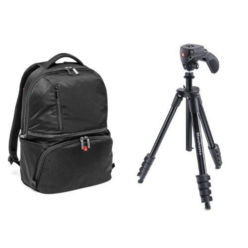 Manfrotto MB MA-BP-A2 Active 2 Zaino per Reflex Obbiettivi e Laptop, Nero/Antracite + Manfrotto MKCOMPACTACN-RD Kit Treppiede Serie Compact con Testa Ibrida per Fotografia e Video, 5 Sezioni Alluminio, Nero