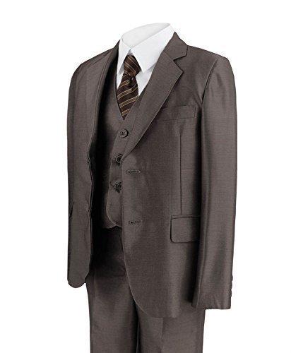 Jungen 5 Stück Anzug Glänzend Party Jacke Hose Hemd Weste Krawatte - Braun, 1-2 Years (Maßgeschneiderte 3 Stück Anzug)