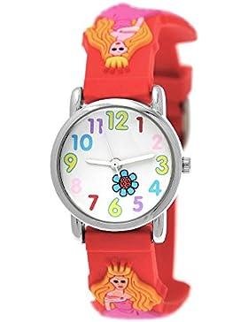 Süße Pure Time Kinderuhr Kinder Mädchen Silikon Armbanduhr Armband Uhr Mädchenuhr mit Prinzessinen Motiv Rot inkl...