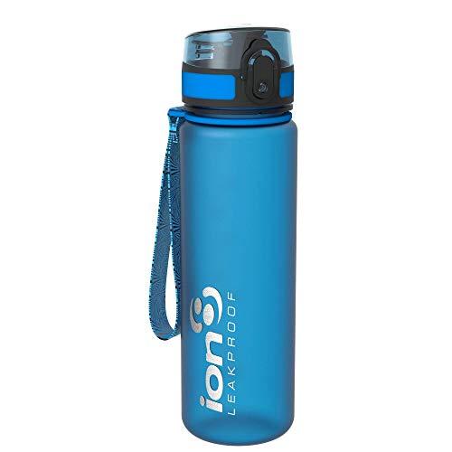 Ion8 auslaufsichere schlanke Wasserflasche / Trinkflasche, BPA-frei, 500ml / 18oz, Blau (Frosted Blue)
