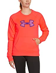 Under Armour Top UA Big Logo Letterman Crew - Sudadera de fitness para mujer, color rojo, talla M