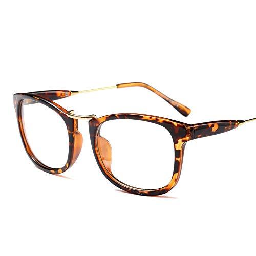 Duhongmei123 Mode Brillen Männer und FrauenTrend Metal Box Flache Brillengestell, Unisex, Lässige Mode Grundlegende Klare Linse Brillen Occhiali (Farbe : Leopard)