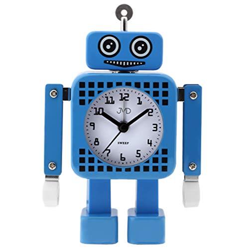 JVD SRP2304.1 Wecker für Kinder Quarz analog Roboter Kinderwecker blau