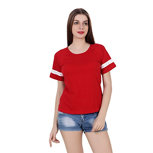 fabstone collection Red 100% Cotton Half Sleeve Casual Tshirt/Top for Women