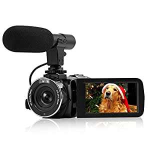 """Camcorder Vlogging Camera, Full HD 1080P 30FPS Camcorder with Remote Control Wifi IR Night Vision 3"""" LCD Touch Screen Digital Video Camera With Microphone"""