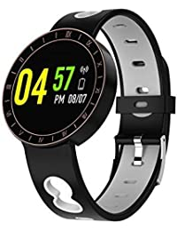Denret3rgu Reloj Inteligente A8 a Prueba de Agua para Monitor de Ritmo cardíaco y Deportes para iOS Android - Negro Gris
