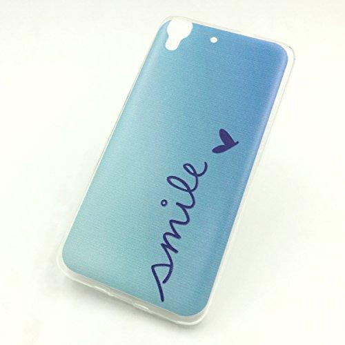 König-Shop Handy Hülle + 1x Panzerglas für Huawei G Play Mini Cover Case Schutz Tasche Motiv Slim Silikon Etui TPU Schriftzug Smile Blau