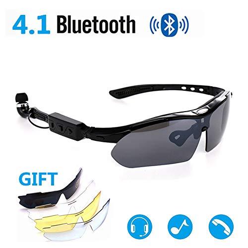 JEANN-YJGlasses Herren Bluetooth Kopfhörer Freisprecheinrichtung Sonnenbrille Polarisierte Brille Sportbrillen Angelbrille, passend für die meisten Smartphones,Black