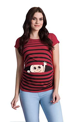 M.M.C. Winke Winke Baby - Lustige witzige süße Umstandsmode gestreiftes Umstandsshirt mit Motiv für die Schwangerschaft Schwangerschaftsshirt, Kurzarm (Weinrot, X-Large)
