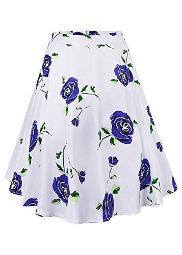 femminile a vita alta floreali / Polka Dots Stampa gonna a pieghe Midi Skater Skirt Rosa Bianca-Blu