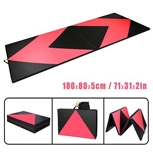 CCLIFE 180x80x5 Rot&Schwarz Raute Klappbare Weichbodenmatte Turnmatte Fitnessmatte Gymnastikmatte rutschfeste Sportmatte Spielmatte, Farbe:Rot&Schwarz Raute