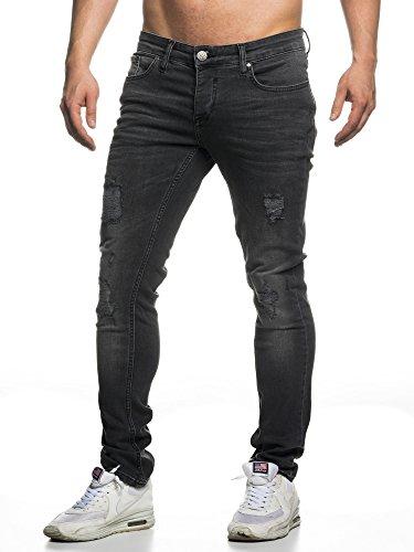 Elara Herren Jeans | Slim Fit Hose Denim | Strech Style | Chunkyrayan 16525-Black-31W / 32L Wash Denim Hose
