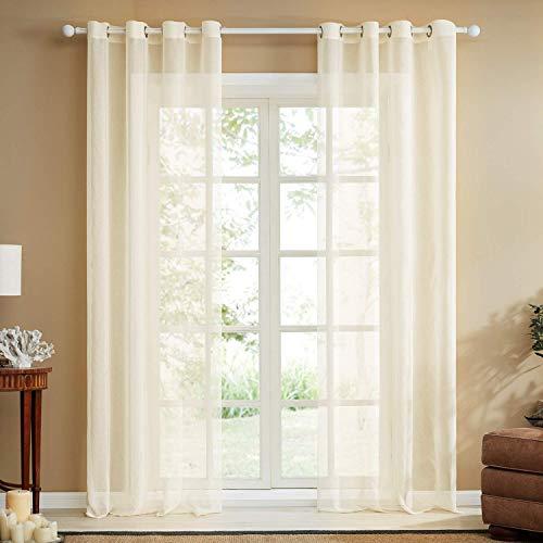 Topfinel trasparenti voile tende lino per la camera da letto della finestra del soggiorno tenda finestra con occhielli,140x175cm,2 pezzi,beige