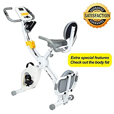 Birtech Collapsible Exercise Bike with Twister Plate, Arm Resistance Bands, Extra Large&Adjustable Seat and Heart Monitor - Perfect Home Exercise Machine for Cardio from Birtech