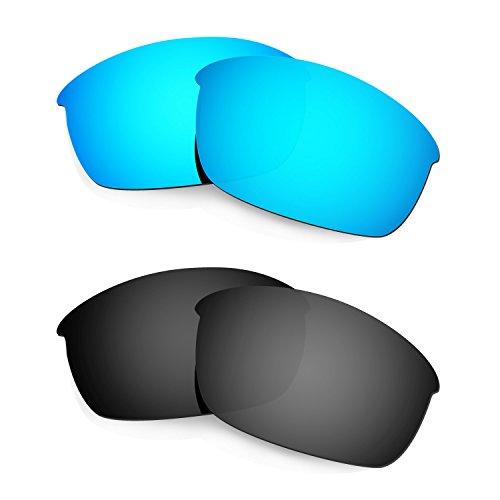 HKUCO Mens Replacement Lenses For Oakley Flak Jacket Sunglasses Blue/Black Polarized
