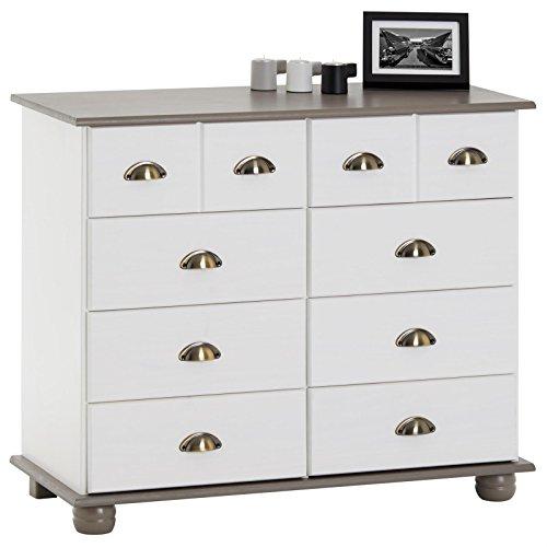 IDIMEX Apothekerkommode Kommode Apothekerschrank Sideboard Colmar, 8 Schubladen, weiß/Taupe