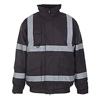 Hi Viz Bomber Jacket Two Tone Reflective Tape Waterproof Quilted Work Jacket Coat High Vis Visibility Safety Workwear Security Road Works Concealed Hood Fluorescent Flashing Top (Black, XL)