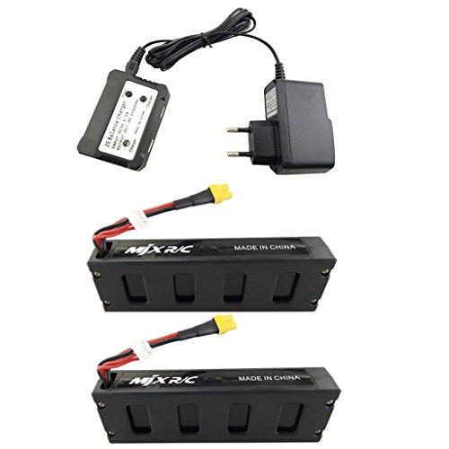 Fytoo 2PCS 7.4V 1800mAh Batería de avión Modelo y 2 en 1 Cargador de EU para MJX B3 B3H Bugs 3H Bugs 3 F17 F100 RC Quadrotor Drone Baterías de Litio Repuestos