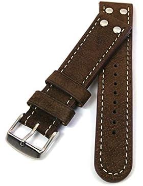 Original UBW 2x2 FLY, Wasserbüffel, FLIEGER Uhrenarmband, 24mm, braun, mit heller Seitennahtsteppung und kräftiger...
