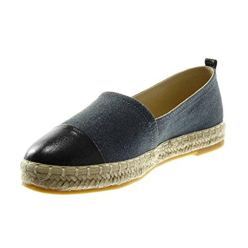 Angkorly Damen Schuhe Espadrilles - Slip-on - BI-Material - Seil - Geflochten - Glänzende Blockabsatz 2.5 cm Blau